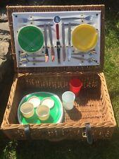 Vintage Lucky St Christopher Picnic Hamper Basket Retro 4 Piece Empire Cutlery