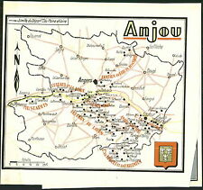 1947 ADVERTISEMENT Vinyard French Wine Anjou Map 2 Sided Gaston Rosin Syndicats