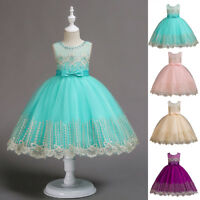 Flower Girl Princess Dress Kids Party Wedding Bridesmaid Formal Dresses Clothes