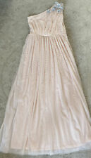 Marylebone One Shouldered Full Length Pale Pink Sequined Bridesmaid Dress, Age 1