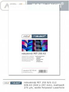 robuskin PET 250 Laserfolie Polyester A3 A4 SRA3 370 g/m² 100-250 Blatt mattweiß