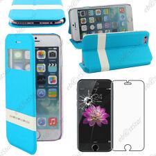 """Accessoire Housse Coque Etui S-View Flip Cover Bleu Apple iPhone 6S 4,7"""" + Verre"""
