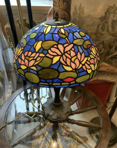 Tiffany Style Large Table Lamp Working No Box...