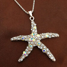 AB Clear Crystal Sea Starfish Charm Pendant Sweater Chain Necklace