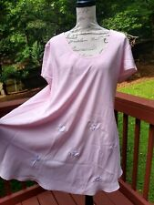 Josie by Natori Nightgown Medium Pink With Embroidered Flowers