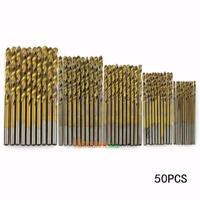 50tlg HSS Spiralbohrer Set Titanium Coated Stahlbohrer Bohrer 1/1.5/2/2.5/3mm