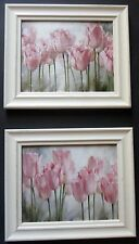 Framed print shabby chic florals flowers pretty tulips  picture frame