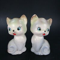 Vintage Cat Salt Pepper Shakers Set Kittens blue-ish green-ish Japan   INV495