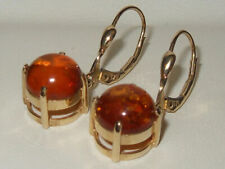 Gems TV 9ct Yellow Gold 2.153ct Russian Amber Solitaire Leverback Earrings