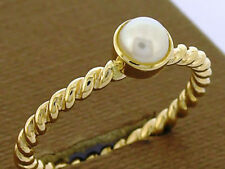R253 Genuine 9ct 14K 18K Yellow or White Gold Pearl Stackable Rope Twist Ring