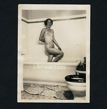Natural Nude Woman in Bath Tub/nude Donna in bagno * VINTAGE 40s amatoriale PHOTO