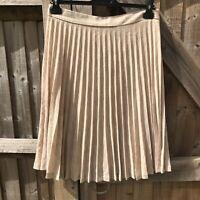 Massimo Dutti Sand Marl Lightweight Wool Blend Accordion Pleated Skirt L VGC