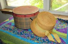 Vintage Womens Hat Peck & Peck Straw Hat With Grosgrain Ribbon & Original Hat Bo