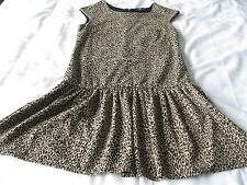MISS SELFRIDGE PRETTY BLACK & BROWN ANIMAL PRINT SHORT SUMMER OFFICE DRESS UK 10