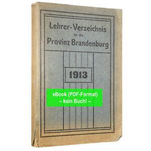 eBook: Lehrerverzeichnis Provinz Brandenburg 1913 (GA331)