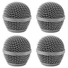 4 Pack of Replacement Silver Steel Mesh Microphone Grill Heads - Fits ShureSm58