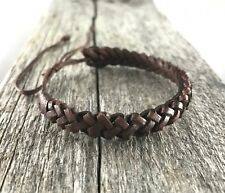 Brown Leather Friendship Bracelet Wristband Anklet Mens Womens Kids Beach Surf