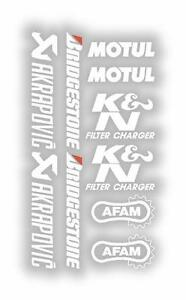 x10 Belly Pan Stickers Akraprovic Bridgestone Motul Afam Decals White 07