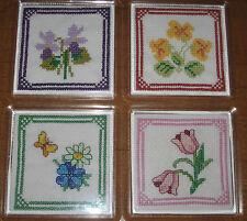 NEW ITA CROSS STITCH FOUR COASTER KIT - Small Flowers 7