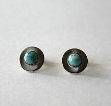 Turquoise Pierced Round Earrings Cute Silver Tone and Faux