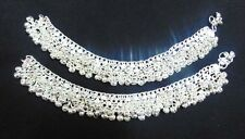 NEW KUCHI TRIBAL BELLY DANCE SILVERTON ANKLET SILVER BELLS PAYAL JEWELRY INDIA