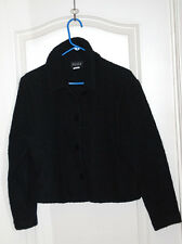 EILEEN FISHER black tweed boucle boiled wool button front jacket short coat M 10