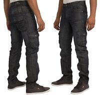 ETO Mens Cargo Jeans Pants Casual Funky Denim Trousers in Dark Wash 30-38