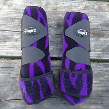 Purple Zebra print Extreme vented Sport boots front pair Tough 1 Large horse