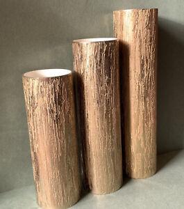 Brutalist Metal Vases German 1970s Museum Modern Art New York Bark Pattern Gold