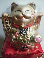 Chinese Luck Gold Ceramic Waving Hand Paw Up Fortune Kitty Cat