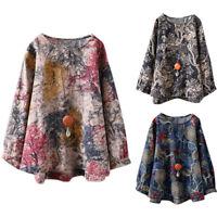 Womens Plus Size Vintage Floral Long Sleeve Crew Neck Ladies Casual Loose Blouse