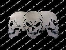 Skull Trio Three Skulls Metal Sign Garage Mancave Wall Art Biker IRON EXILE