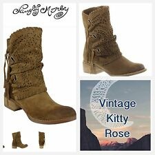 NEW Naughty Monkey Vamp Phyer Taupe Fringed Cutout Suede Ankle Boots Booties 8