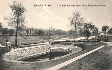 Fish Pond & Dam at Clare Point Stock Farm in Ephrata PA 1909