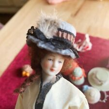 dollhouse miniature vintage Artisan hats LOT feathers OOAK