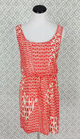 Womens Bisou Bisou Sleeveless Blouson Sundress Orange Aztec Print Dress Size 10