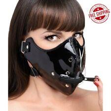 Lektor Zipper Mouth Muzzle Half Face Mask Black Leather Open BDSM Bondage Gear