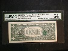 1977 A $1 Fed Reserve Pmg Unc 64 Overprint On Back Error Note New York $1 Bill