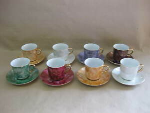 8 Vintage Coffee Cups & Saucers ~ Harlequin Lustre ~ Hand Painted ~ Wawel Poland
