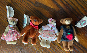 Lot of 4 Cottage Collectibles Miniature Jointed Bears by Ganz - Tina Rusty Bruno