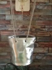 JEAN PAUL GAULTIER BAG SILVER METALLIC BUCKET BAG WITH LONG CHAINS