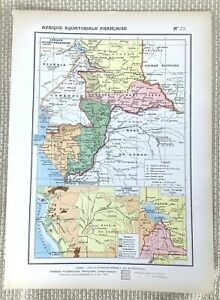 1888 Antique Map of French Equatorial Africa Congo Gabon Chad Cameroon Colonial