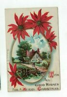 Antique 1912 Embossed Christmas Post Card Poinsettias Man Woman Country Home