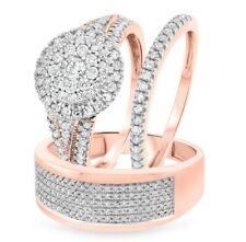 18K Solid Rose Gold Over 2.30 CT Round Diamond Engagement Wedding Trio Ring Set