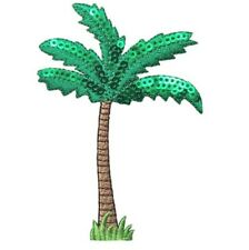 """Palm Tree Applique Patch - Sequin Leaves, Grass 3.75"""" (Iron on)"""