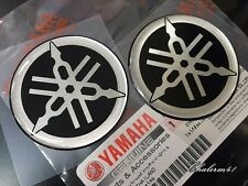Sale 2X YAMAHA GENUINE  BLACK 45 mm TUNING FORK LOGO SLVER STICKER EMBLEM DECAL