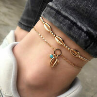 2PC Hot Ankle Bracelet Women Gold Beads Shell Anklet Foot Jewelry Chain Beach
