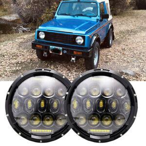 "For Suzuki Sierra LJ80 SJ80 SJ80V 1pr LED Black 7"" Round Headlights Lights"