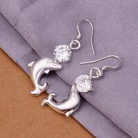 Ohrringe Delfin Delphin Silber plattiert mit  Hänger und wunderschönem Zirkonia