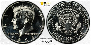 1964 50C Proof Silver Kennedy Half Dollar PCGS PR 65 Accented Hair
